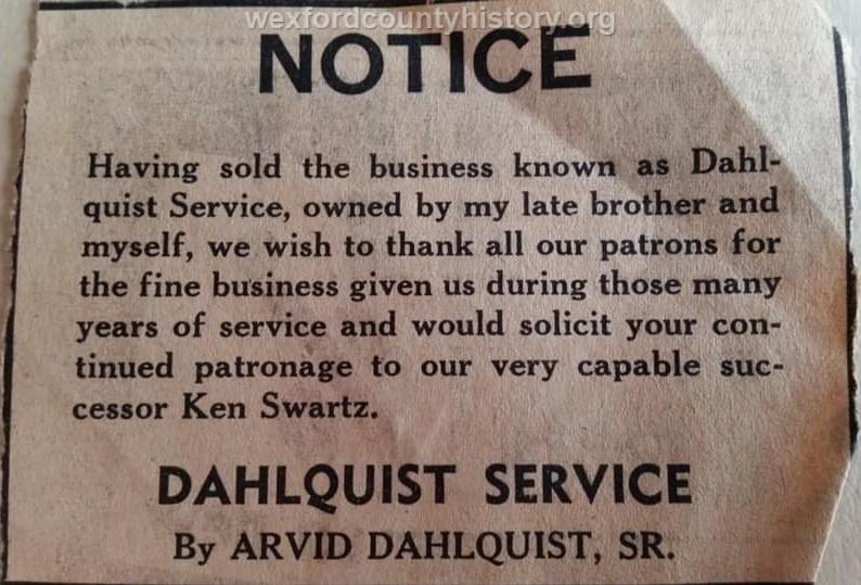 Dahlquist Service Sign, c. 1953