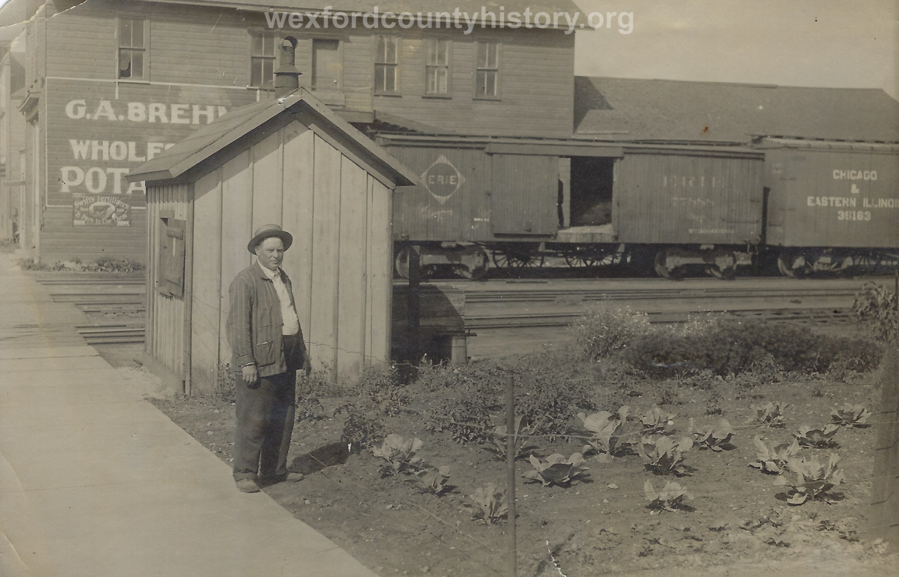 George A. Brehm With His Warehouse On West Mason Street