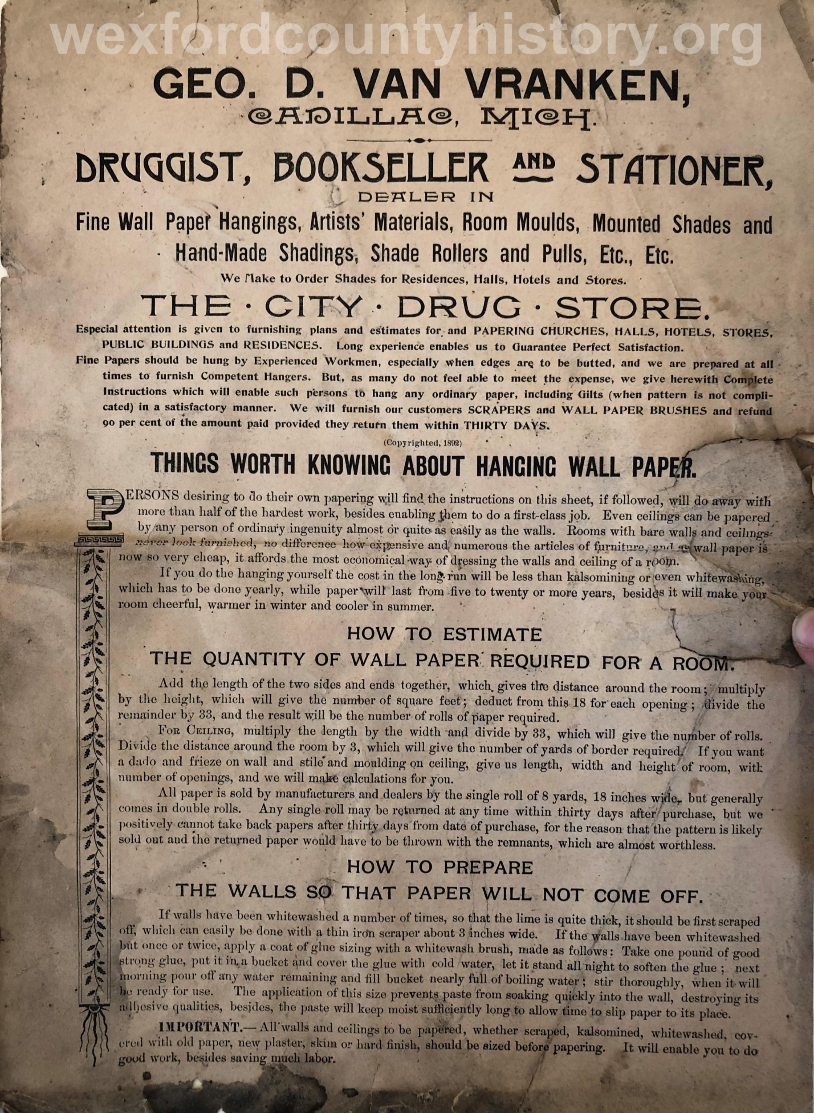 George D. VanVranken Advertisement