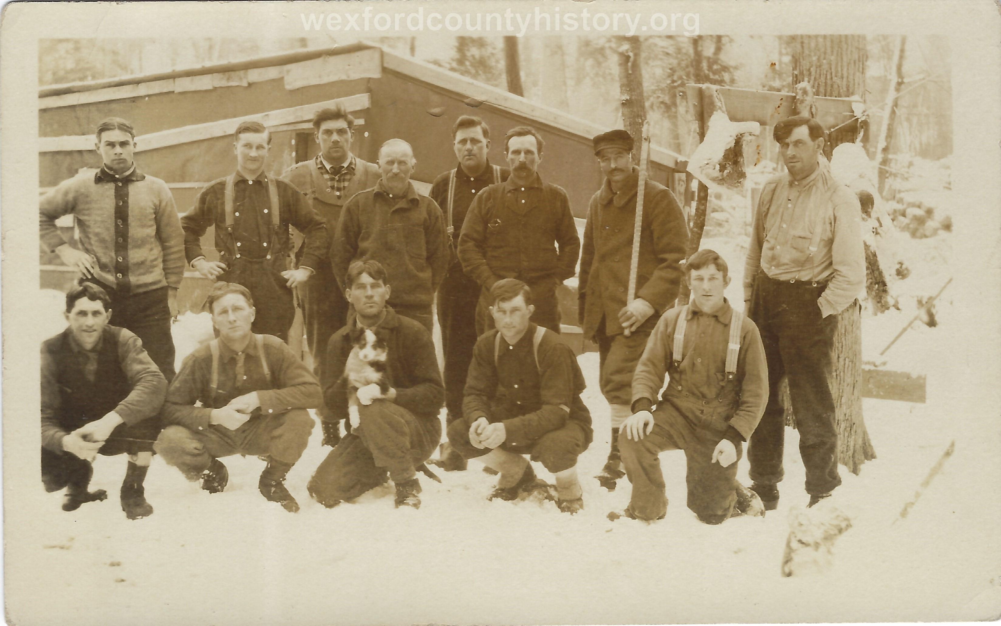 Cadillac-Lumber-Lumberjacks-Pose-In-Camp-2