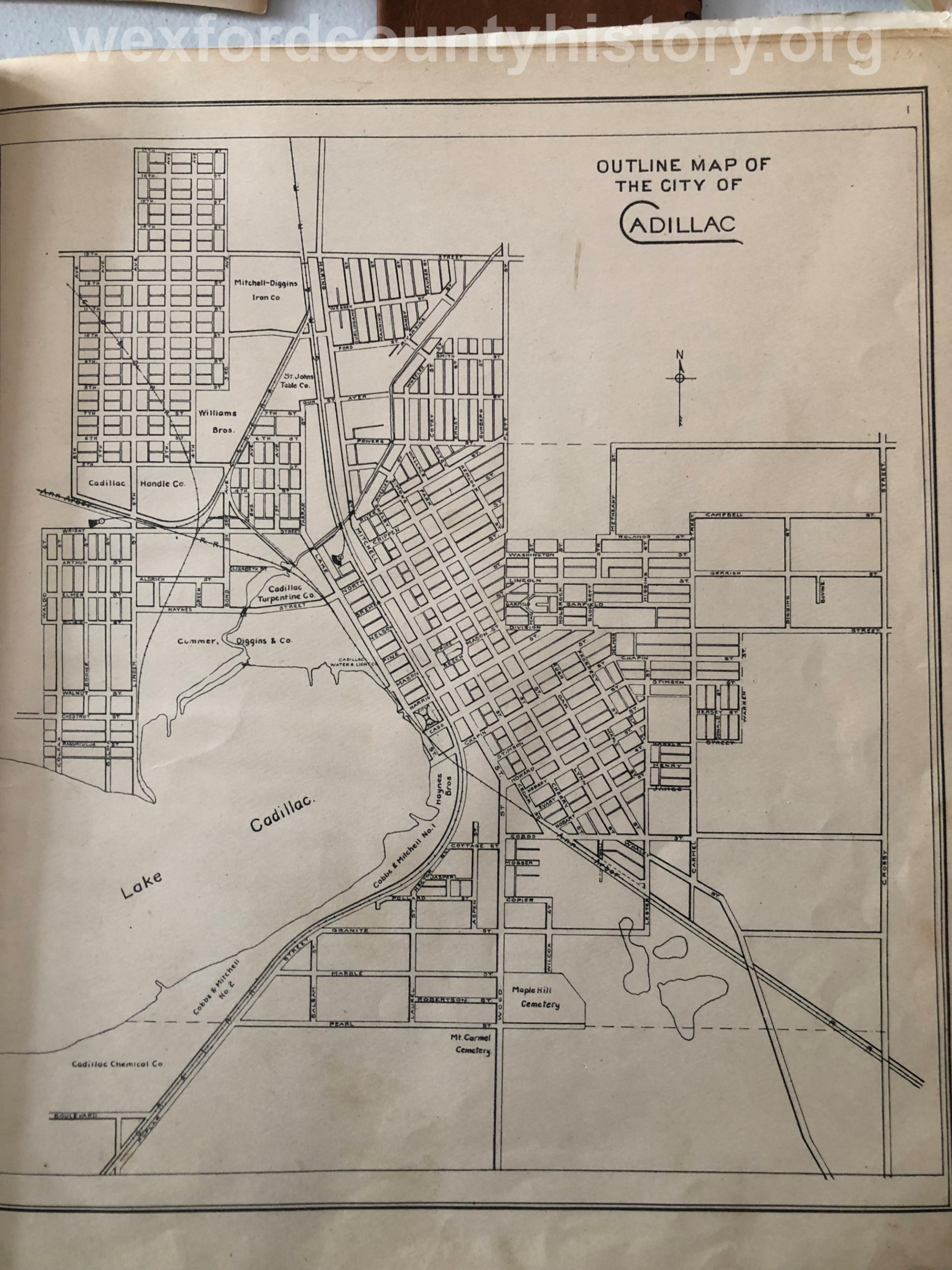Unknown Year Outline Map Of Cadillac