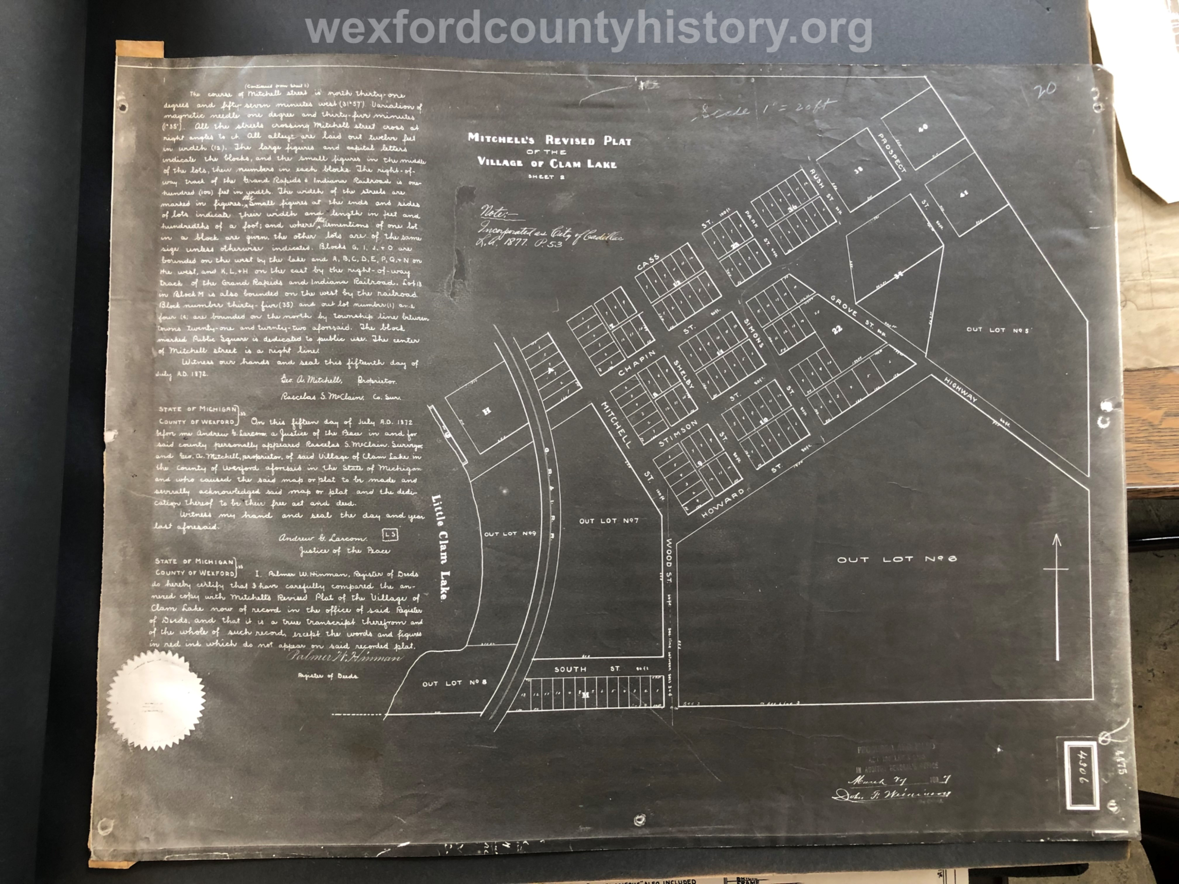1877 - Mitchell's Revised Plat Of The Village Of Clam Lake