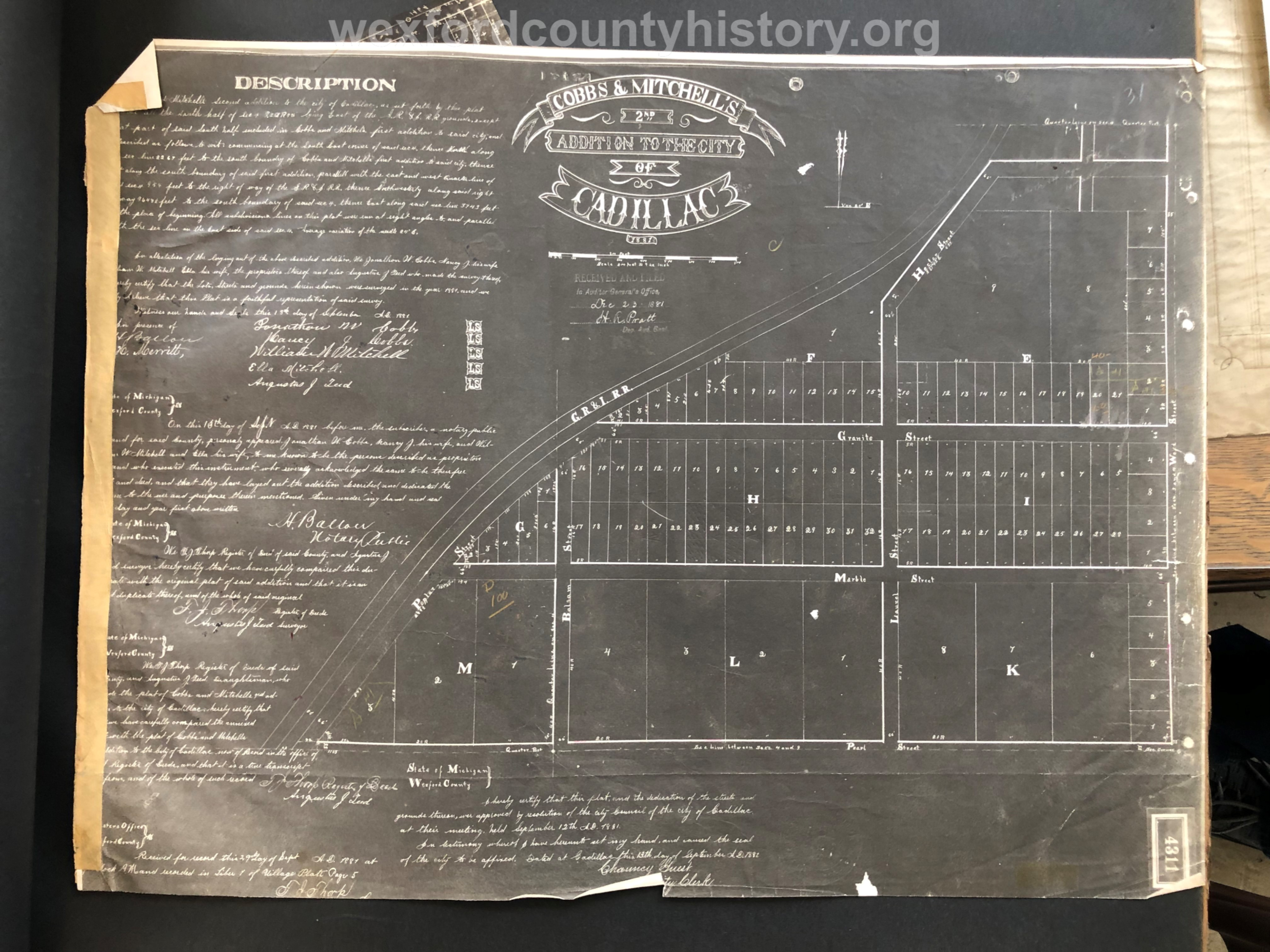 1881 - Cobbs And Mitchell's Second Addition To The City Of Cadillac