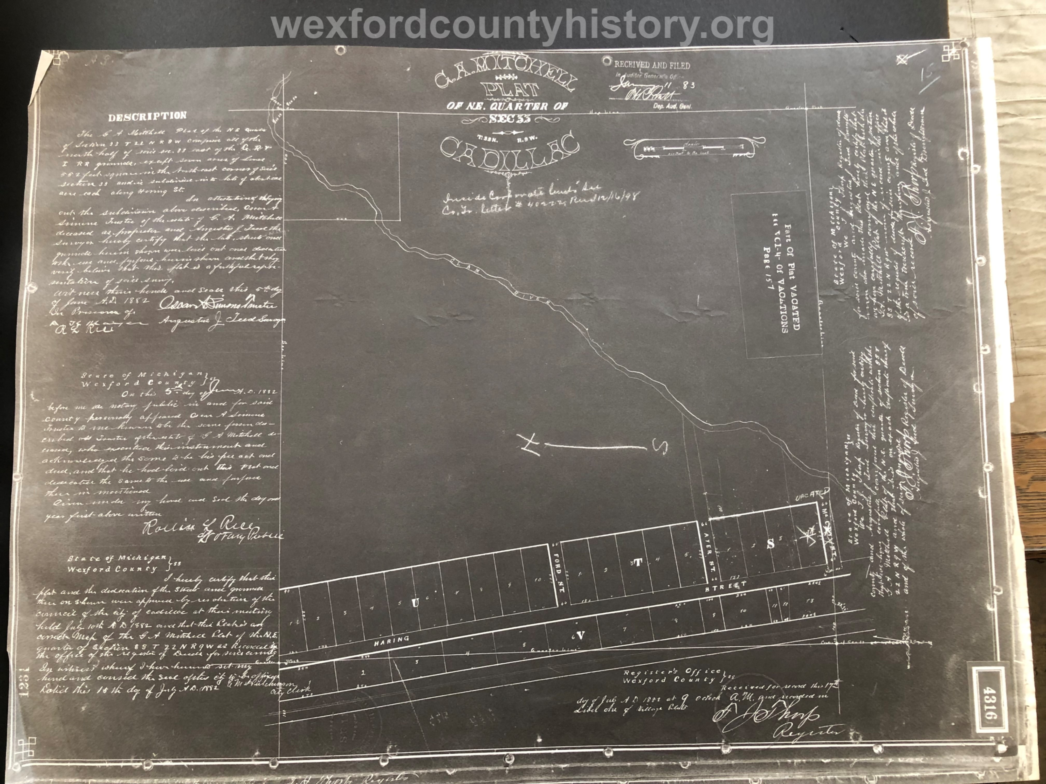 1883 - George A. Mitchell's Plat Of The Northeast Quarter Of Section 33