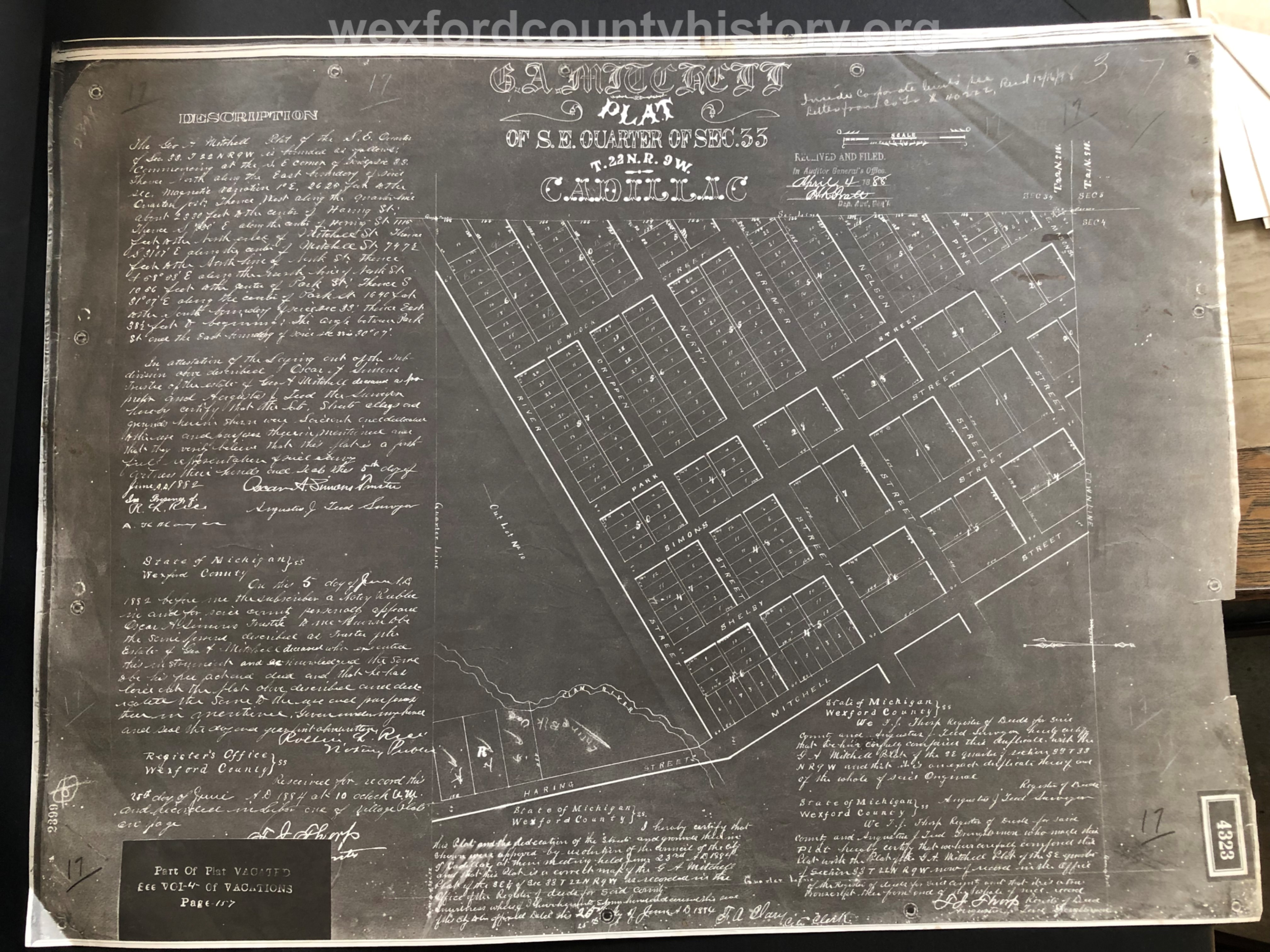 1888 - George A. Mitchell's Plat Of The Southeast Quarter Of Section 33