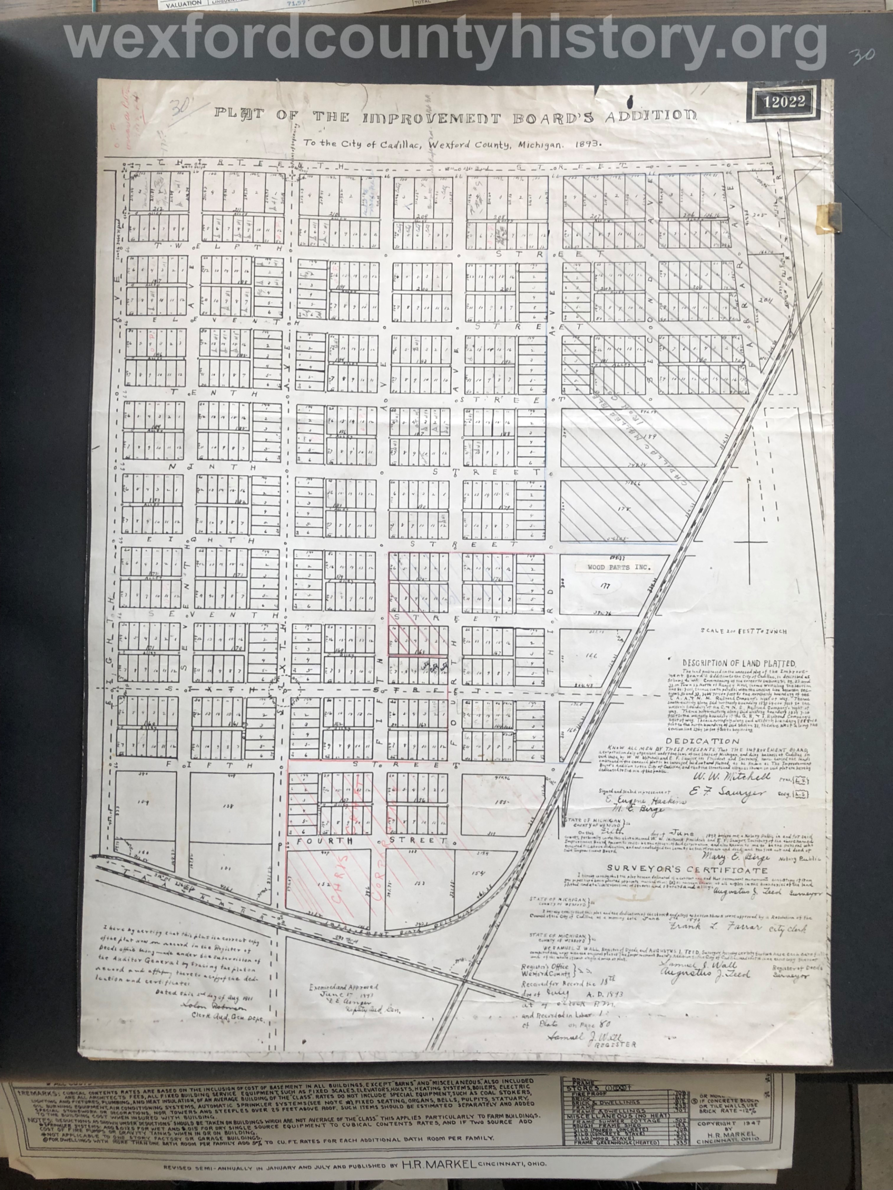 1893 - Improvement Board's Addition To The City Of Cadillac