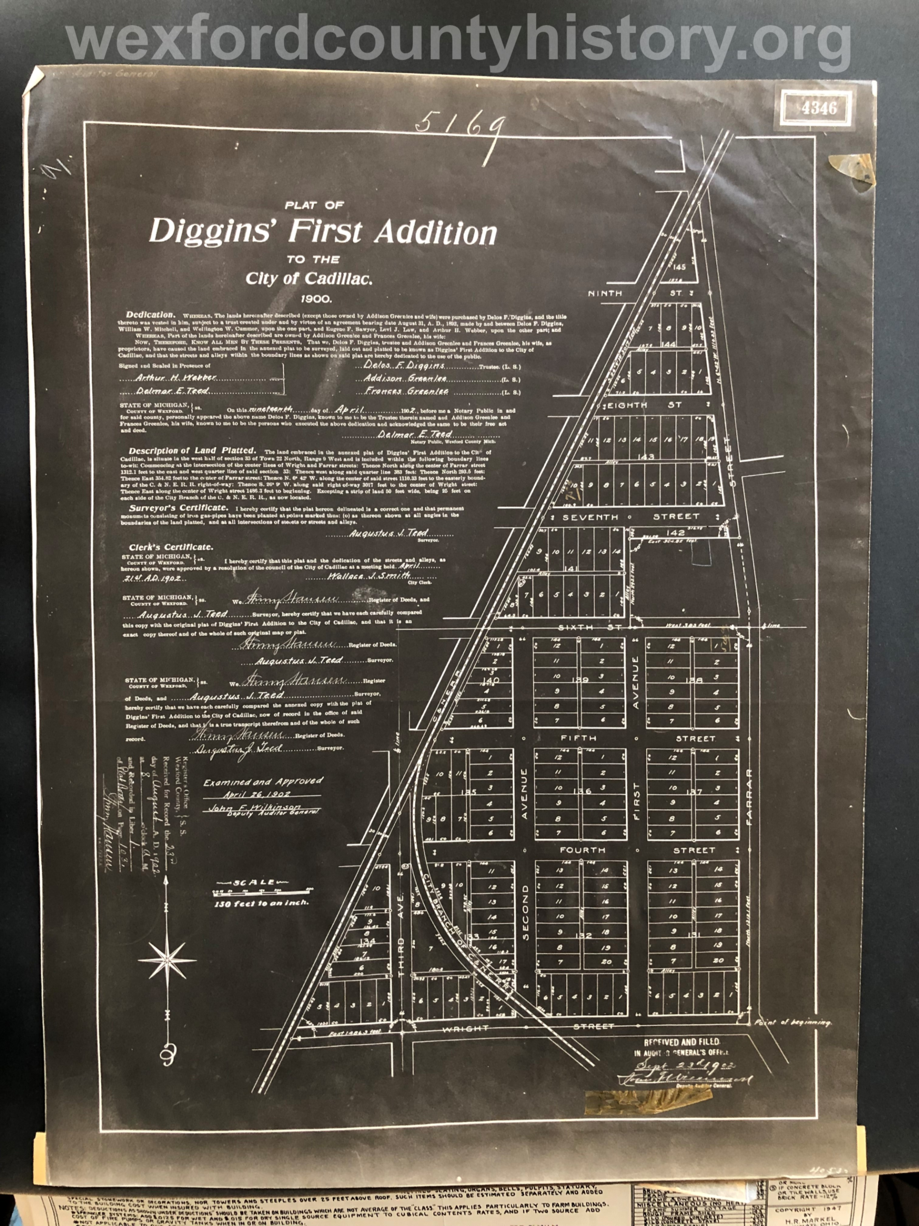 1900 - Diggin's First Addition To The City Of Cadillac