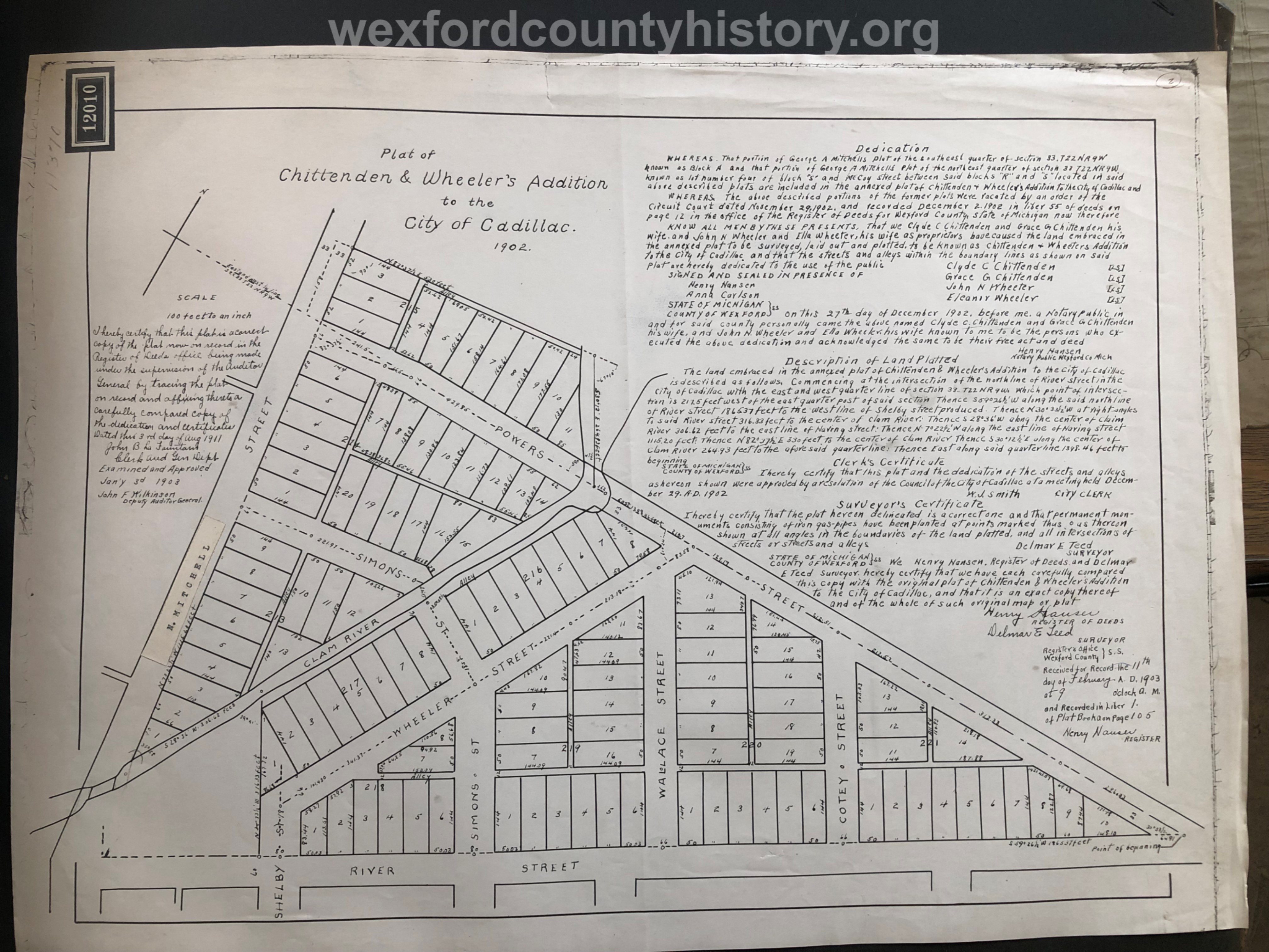 1902 - Chittenden And Wheeler's Addition To The City Of Cadillac