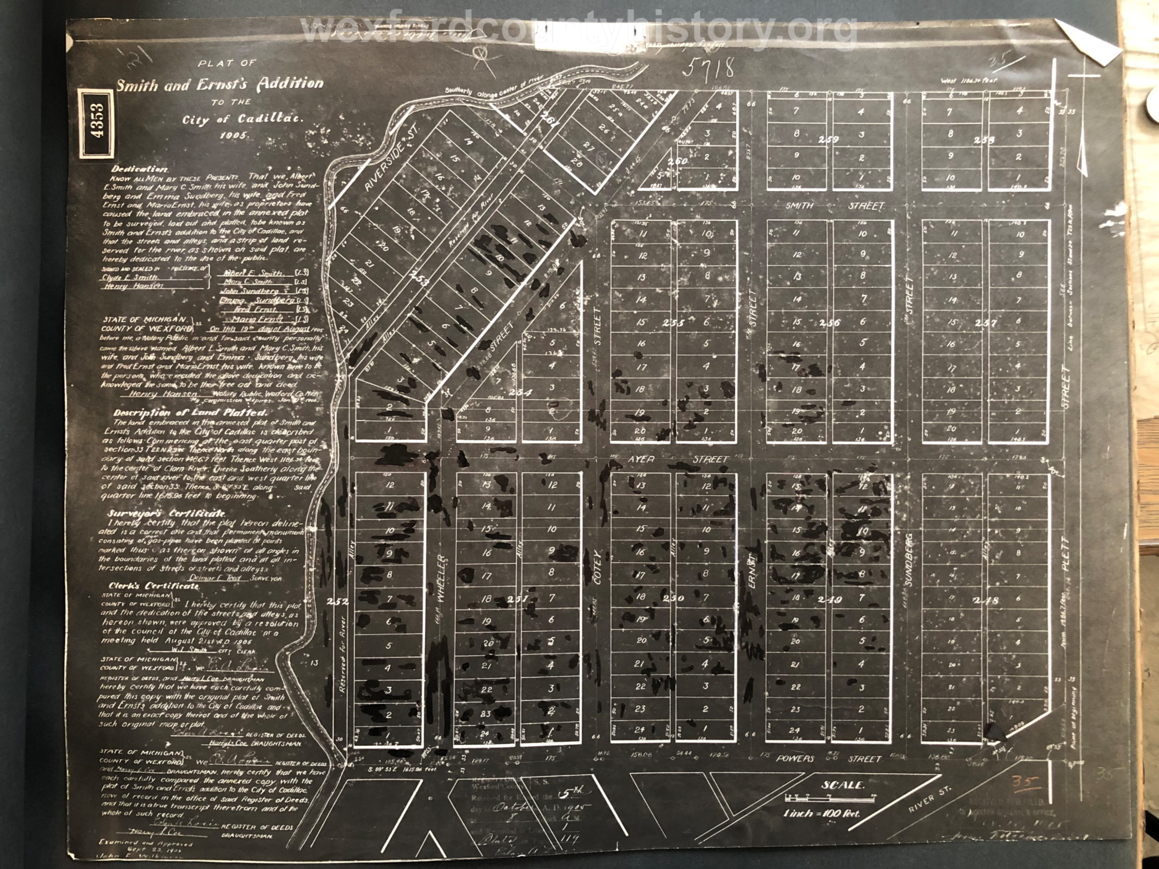 1905 - Smith And Ernst's Addition To The City Of Cadillac