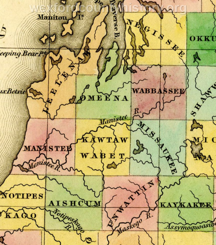 1842 - County Map Of Michigan With Kautawabet County