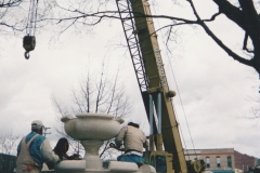 Installing The New Fountain in The City Park