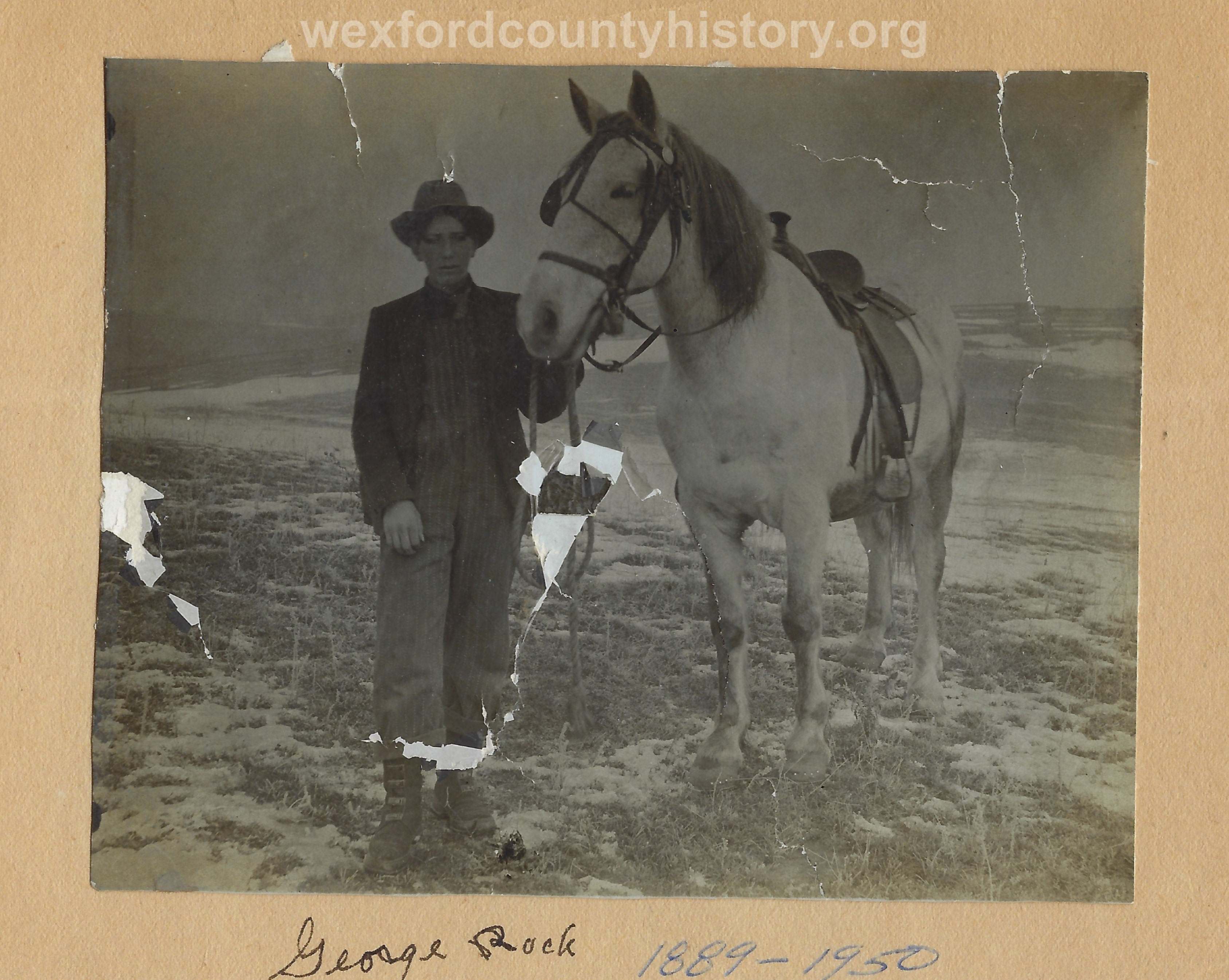 George Rock and His Horse, Dick, in 1910