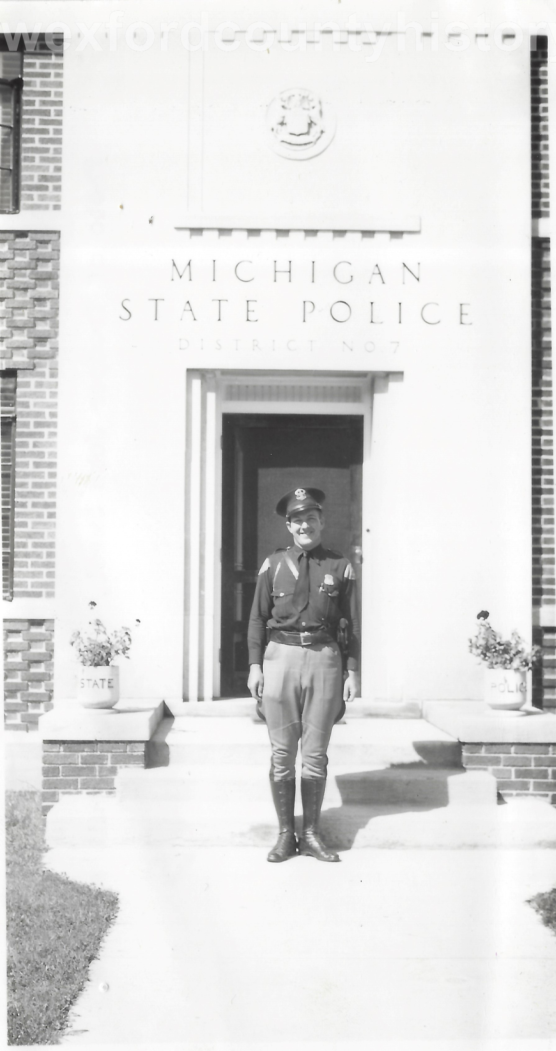 Michigan State Police Post With Trooper John Sweet In Front