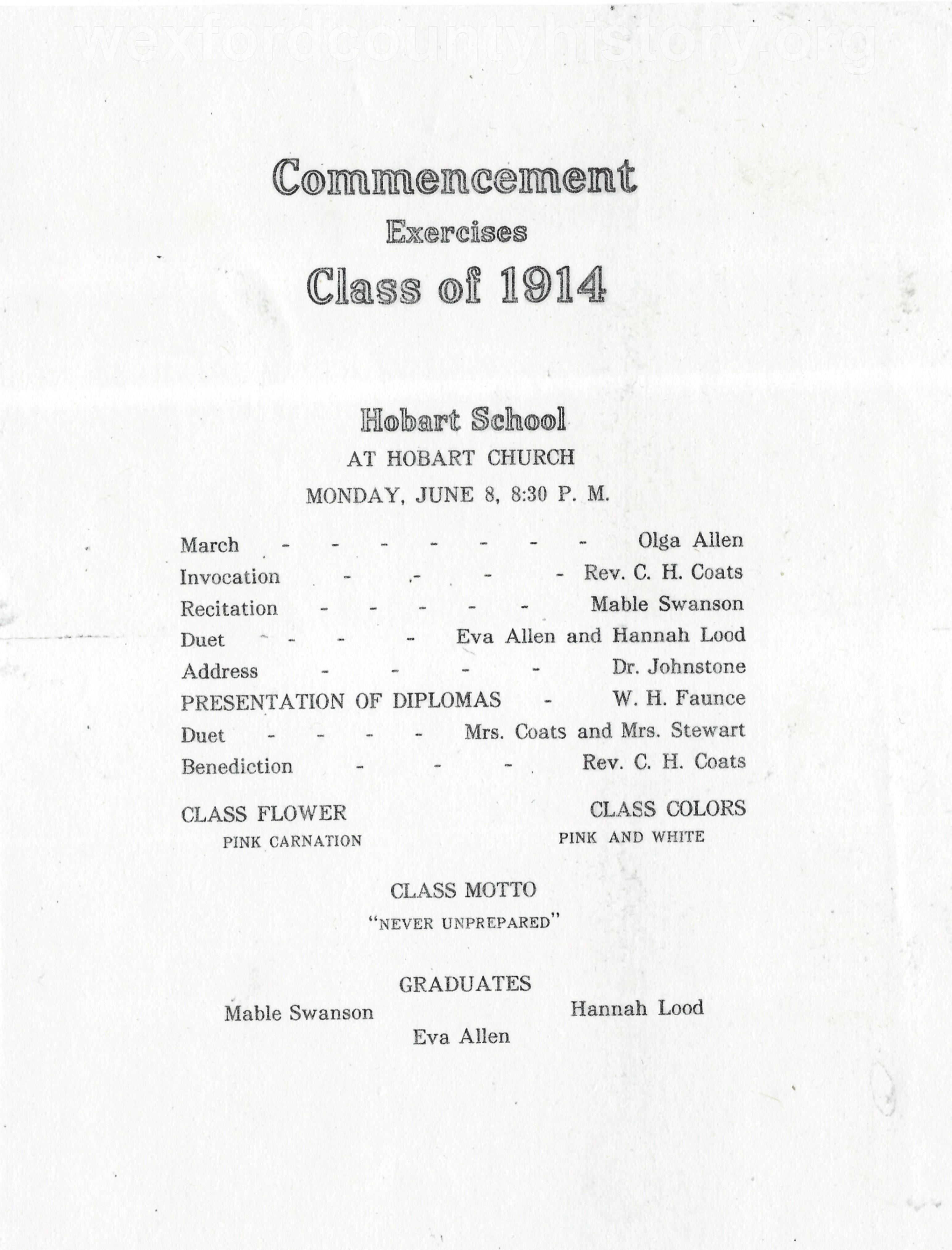 Hobart School, 1914