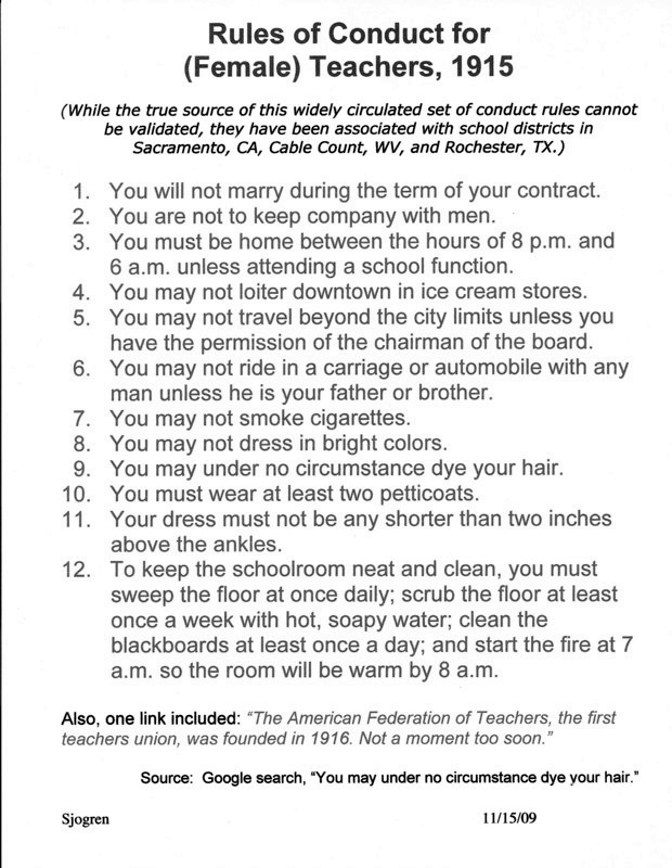 Rules of Conduct, 1915