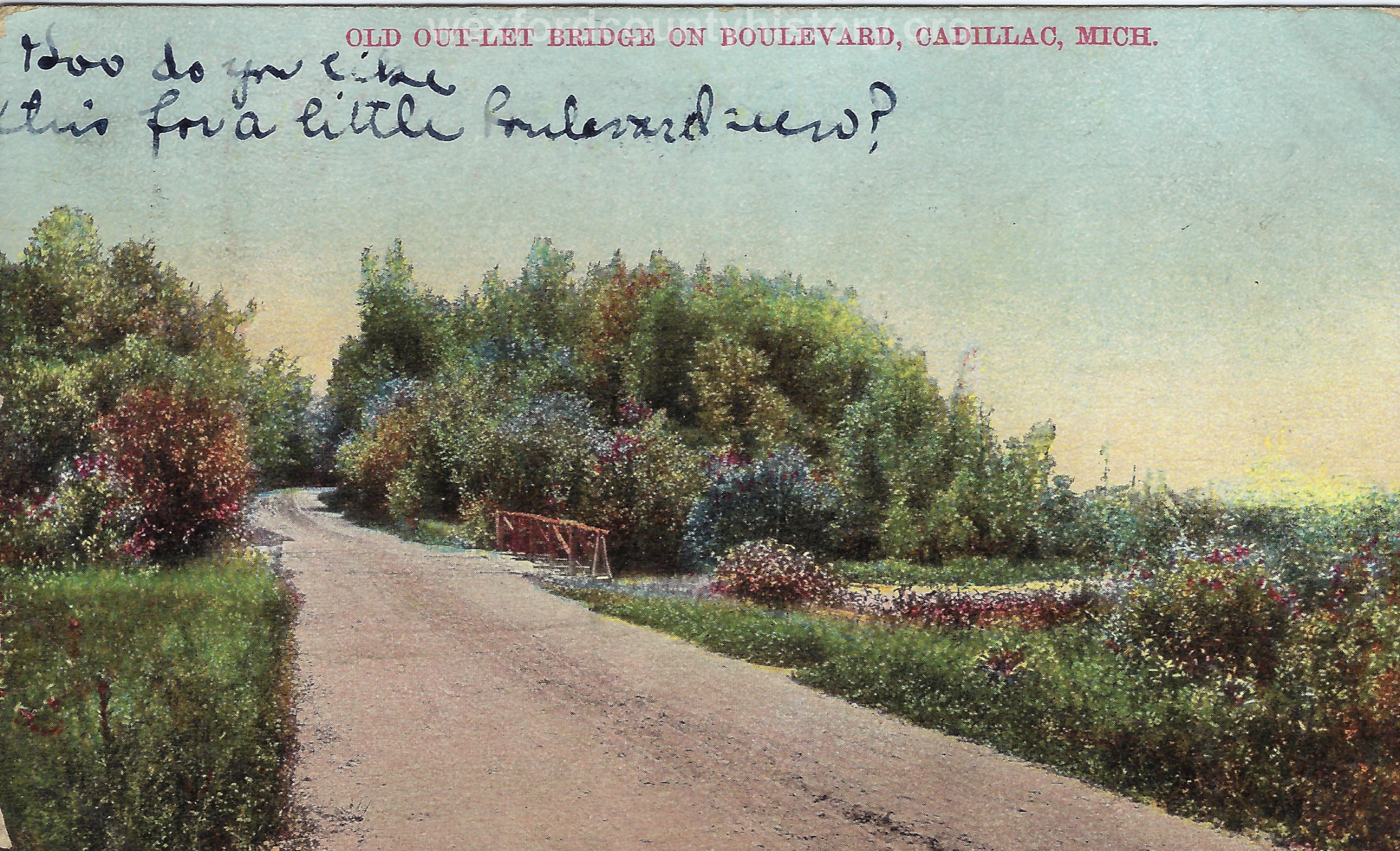 Cadillac-Recreation-Old-Outlet-Bridge-The-North-Boulevard-roadway-was-constructed-by-the-Mitchell-family.-This-1907-or-earlier.-photo-was-taken-approaching-the-Black-Creek-3