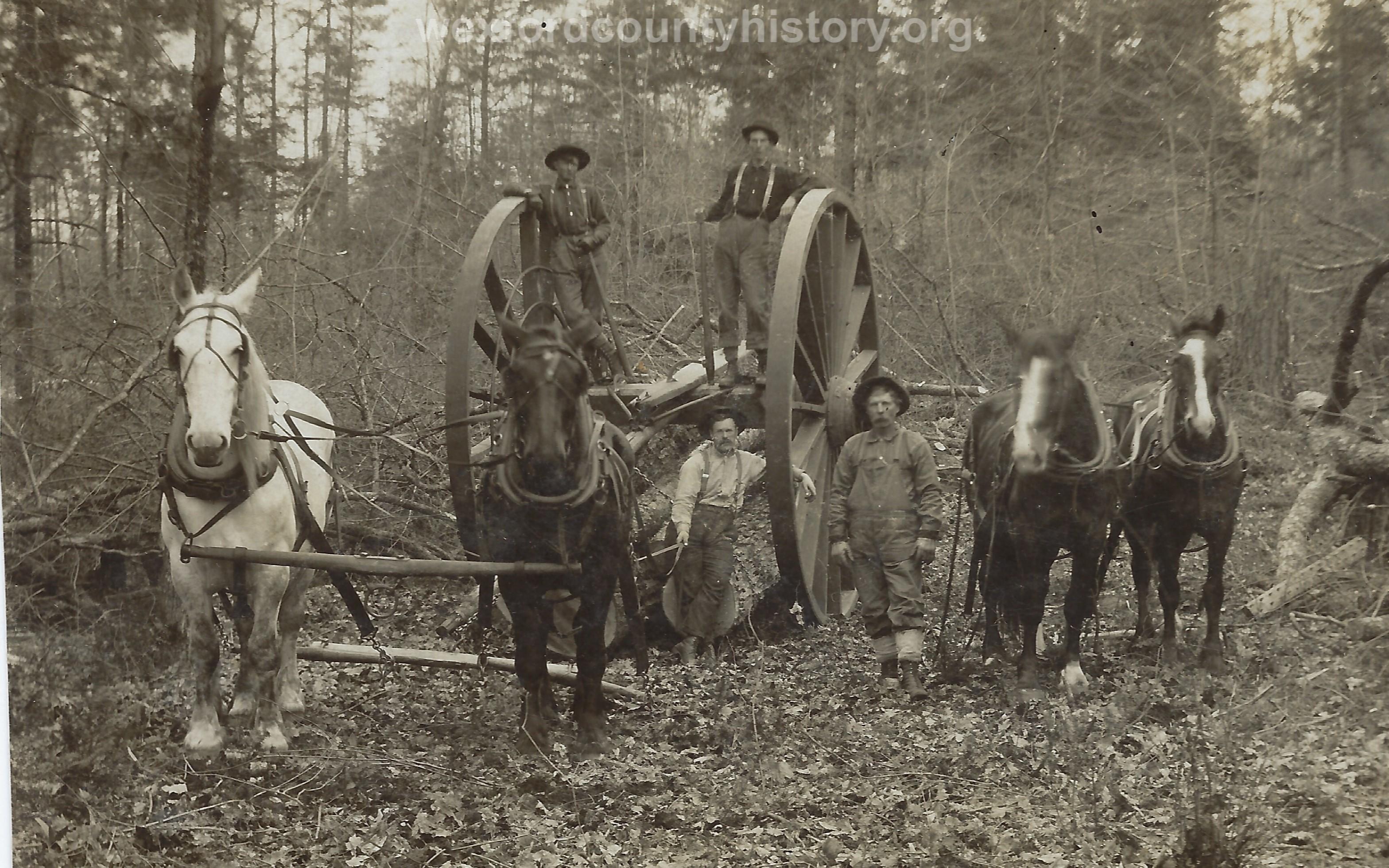 Cadillac-Lumber-Lumberjacks-With-Michigan-Wheels-And-Two-Two-Horse-Teams