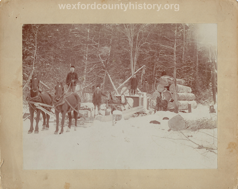 Cadillac-Lumber-Three-Horse-Teams-Pulling-Logs