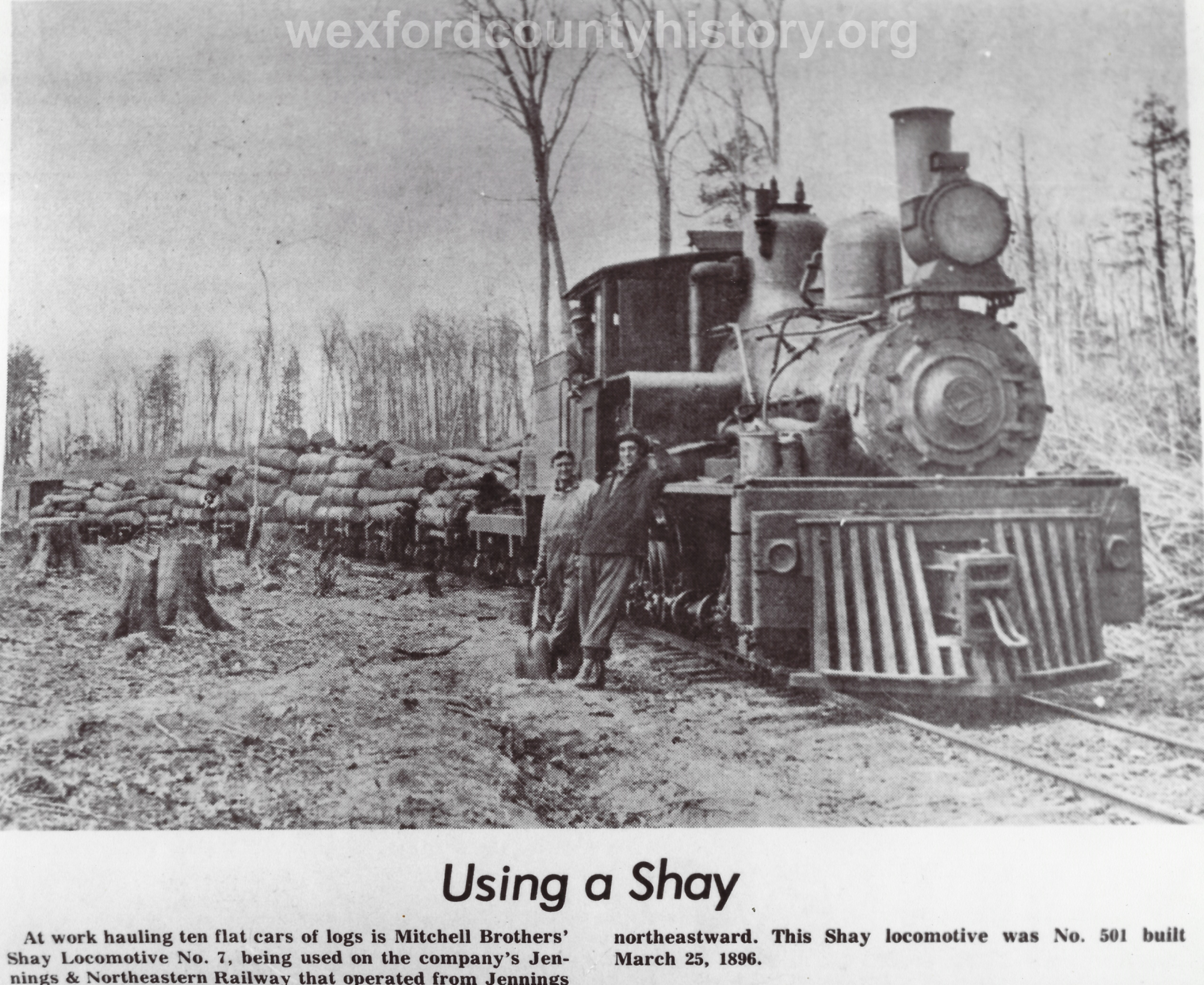 Shay Locomotive Transporting Logs