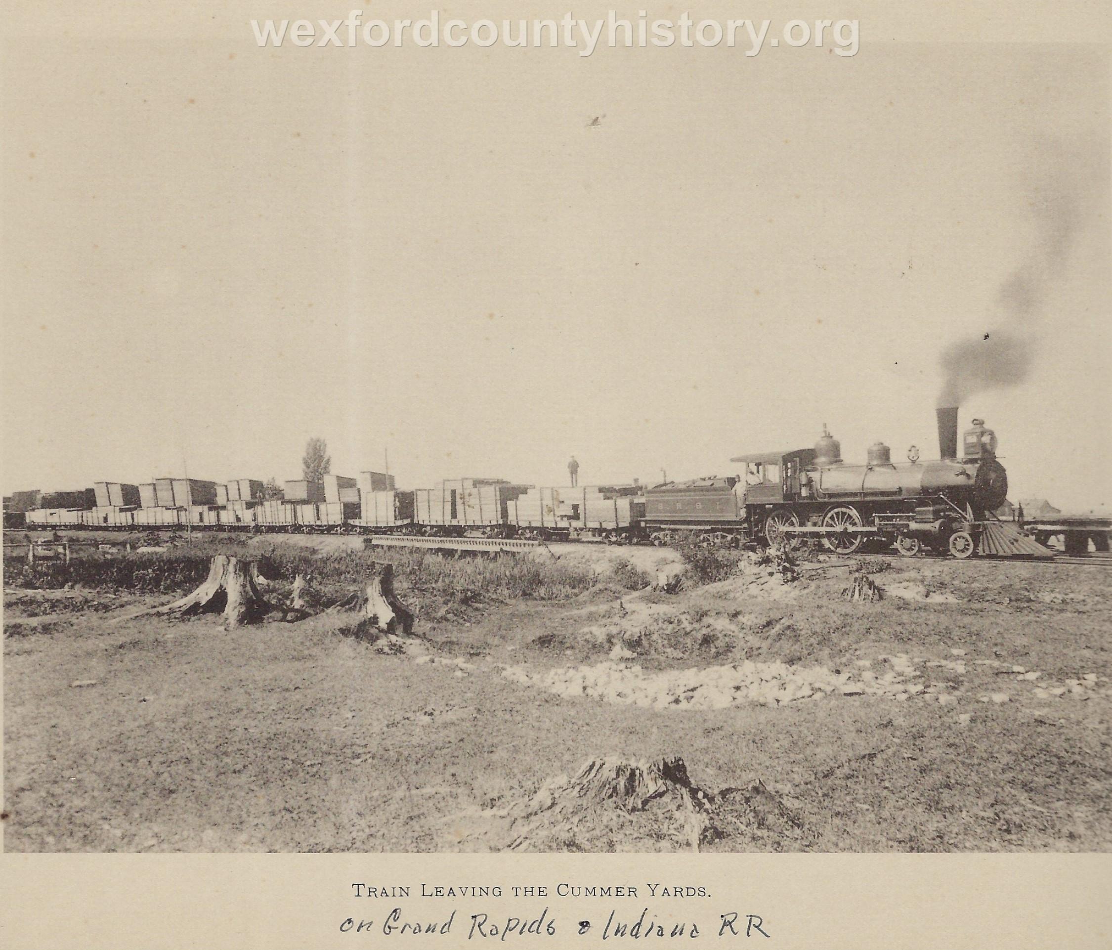 Cadillac-Railroad-Train-Leaving-Cummer-Lumber-Yards-on-GR-and-I-Railorad