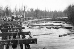 Log Train on a Trestle