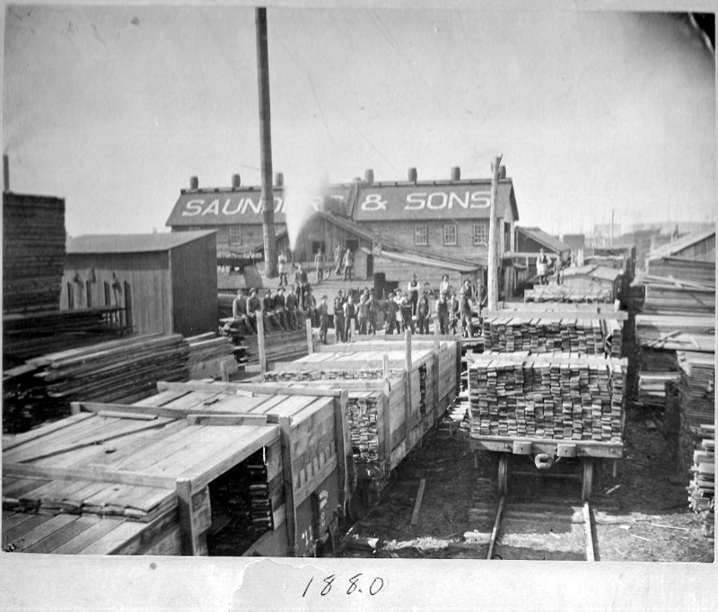 Saunders and Sons Lumber Mill, 1880.