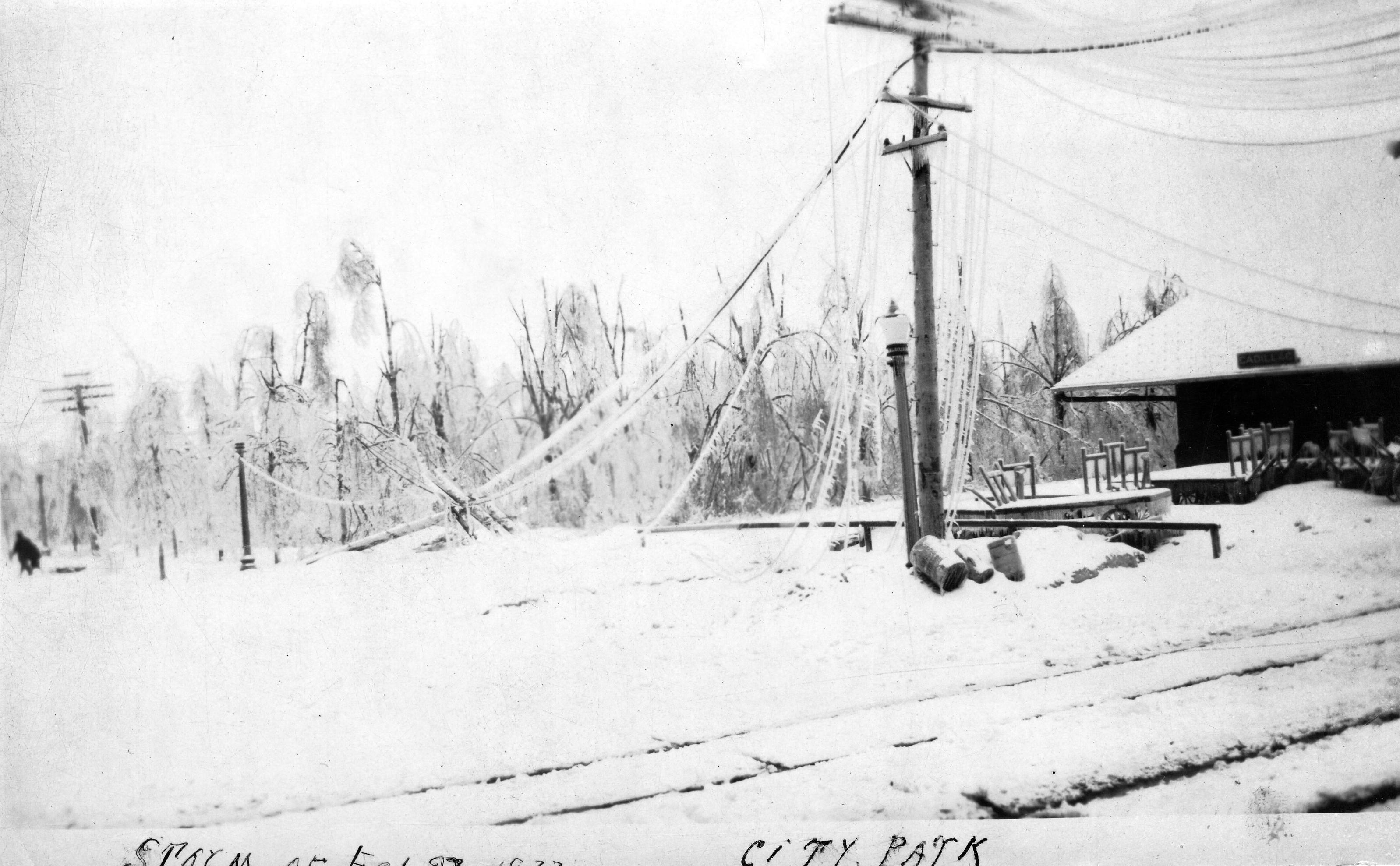 1922 Ice Storm - City Park Near Depot