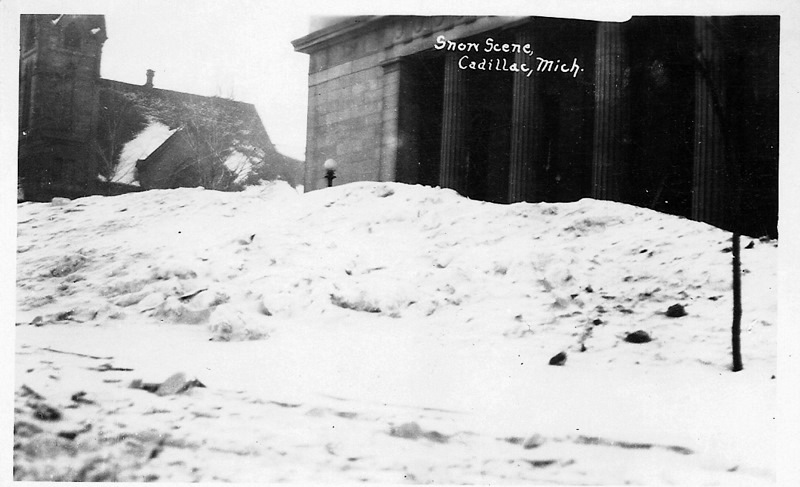 Snow Piled on the Post Office Steps