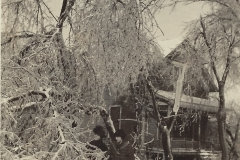 1922 Ice Storm - People In Front Of Their House