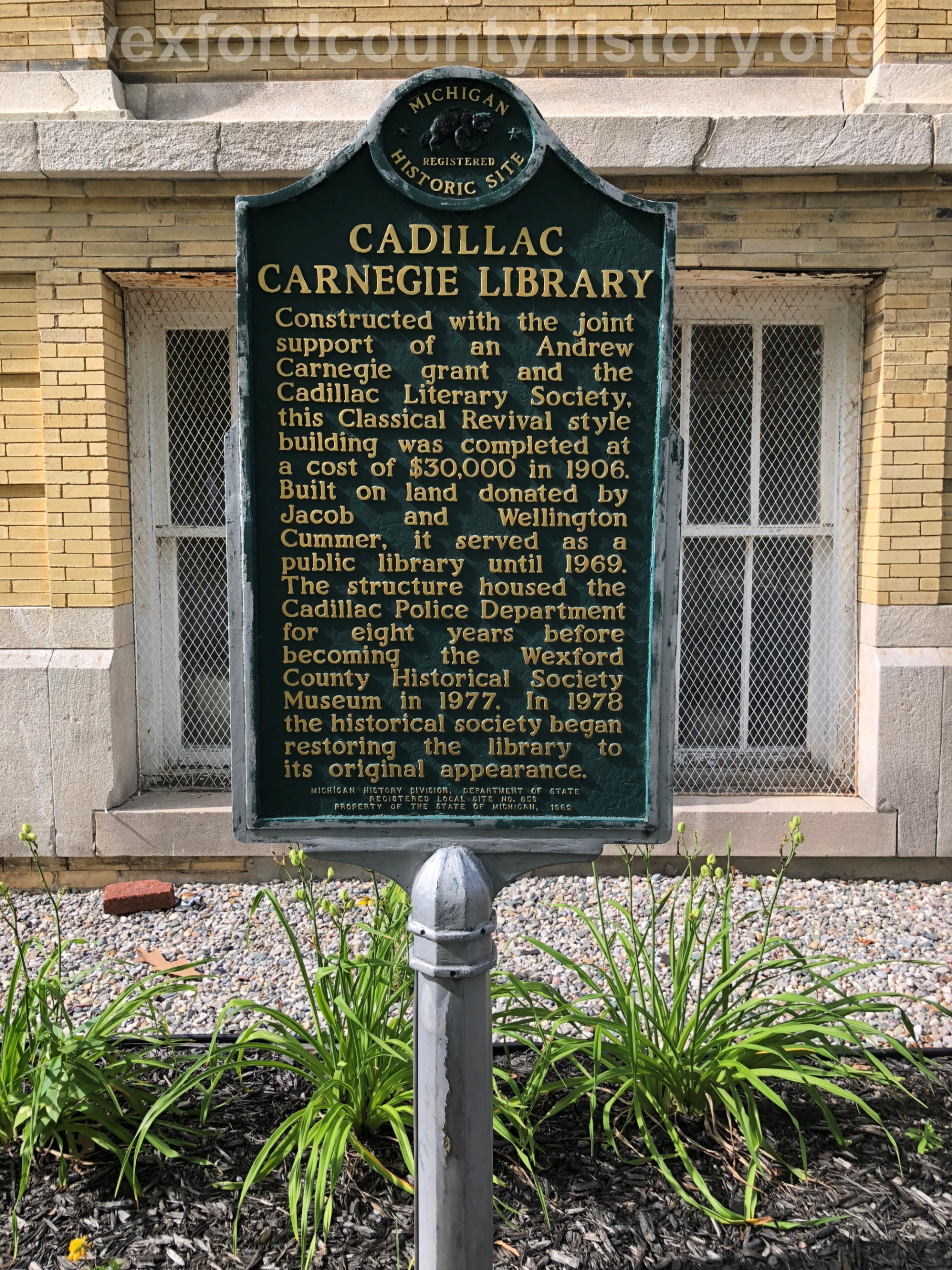 Cadillac Carnegie Library Sign
